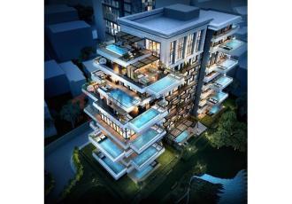Meerblick-Wohnung (3 Zimmer, 2 Bäder) mit Terrasse und Pool in Istanbul-Sisli